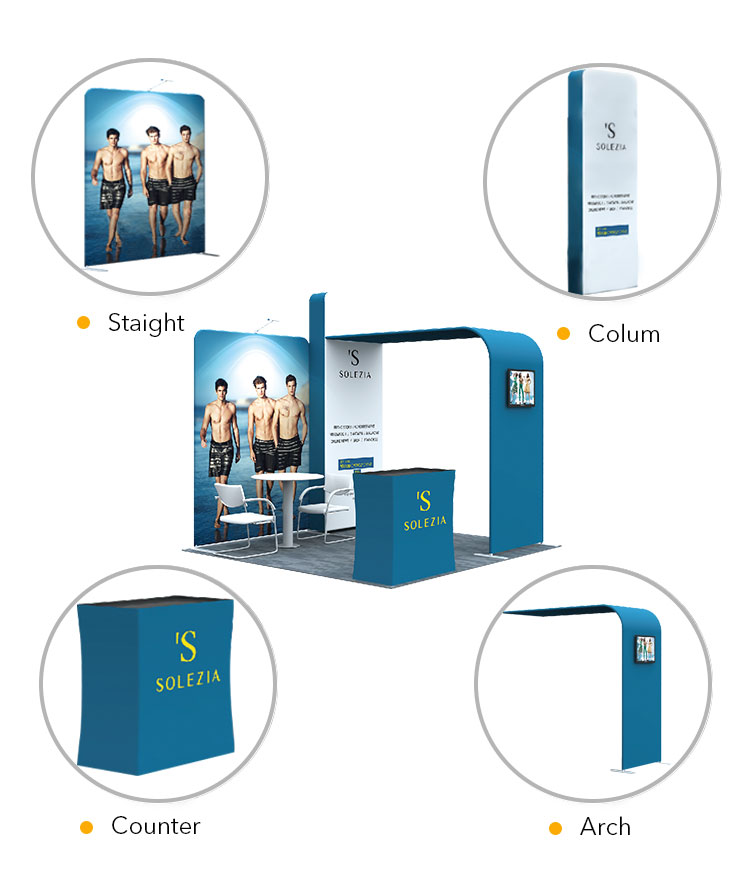 super popular portable 3x3 outdoor tension fabric trade show booth/exhibition booth display for sale
