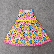 2017 Wholesale baby girl 100% cotton dress toddler vest dress with flowers as pictures