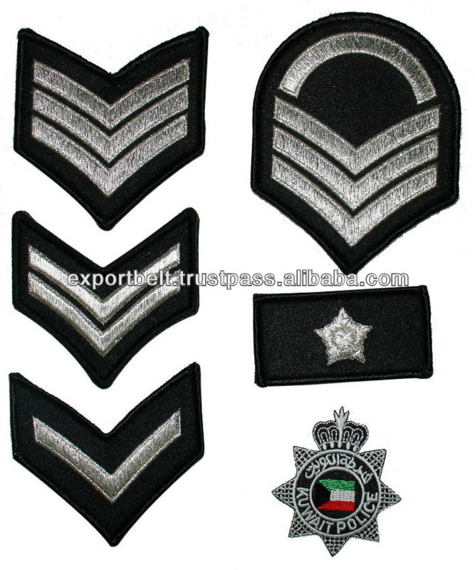 Kuwait Patches | Shoulder Chevron Insignia Patch in silver thread | Rank Chevron Patch