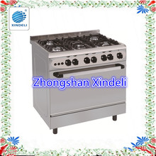 80*60 Mirror Stainless Steel Body Gas Oven With 5 Burners