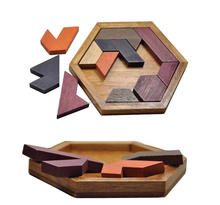 Wholesale Wooden Tangram Puzzle Custom Assemble Montessori Board Game Colorful Kids Educational Jigsaw Puzzles