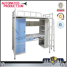 Steel Bunk Bed with Desk For Sale / School Students Bunk Bed with Desk / Bunk Bed with Desk