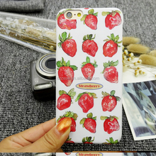 Lovely strawberry design hard IMD mobile phone case for iphone 5 se 6 matte cell phone cover for iphone 7 plus