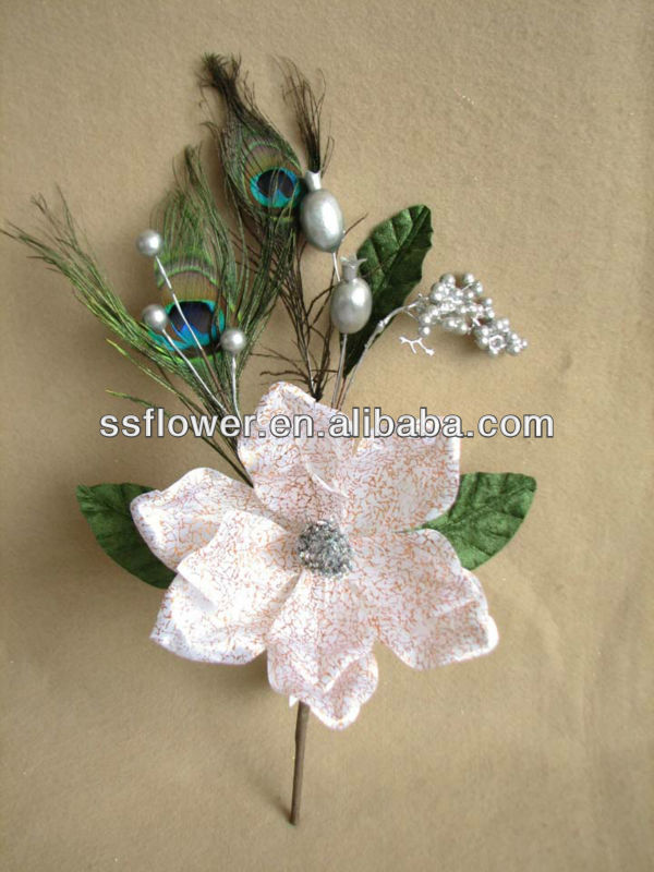 2014 New Artificial Christmas Flower Pick 35cm Artificial Velvet Magnolia With Peacock Feather