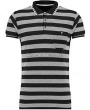 China Bulk Cheap Mens Custom print black short sleeves stripe polo shirt