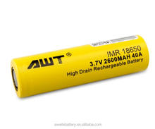 Aweite awt 18650 yellow 2600mah 40a battery 3.7v 651723 lipo battery ecig interchangeable battery for subzero competition mod