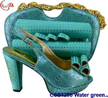 CSB1206 water green New designs of high heels shoes/ladies christmas shoes / shoes and bag match set for wedding/party