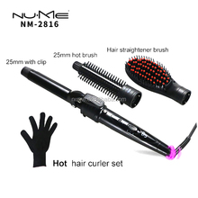 New Popular Private Label Hair Crimping Curler Iron Kit Professional Titanium Hair Curling Wand With Glove