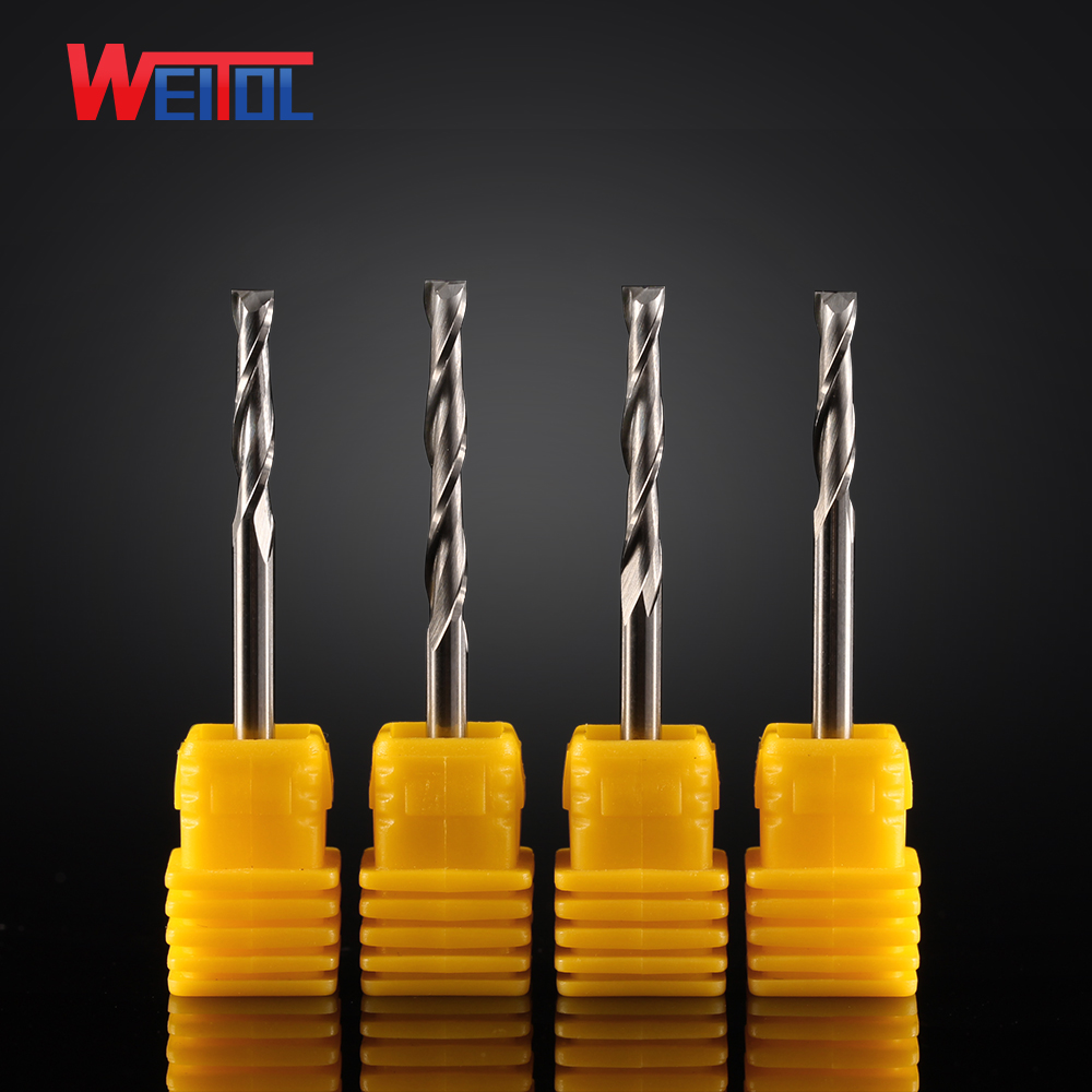 WeiTol cnc woodworking tools <strong>carbide</strong> 2 flutes end mill end mill 2 flute cutting 12mm 3A Double Flute Spiral Bit 3.175mm