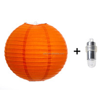 10 inch Orange color Chinese Paper Lantern with LED light for Wedding Decoration