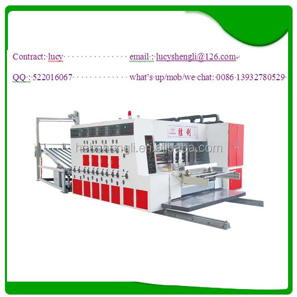 corrugated cardboard printing die cutting machine / fast speed ink corrugated paperboard printer slotter die cutter with stacker