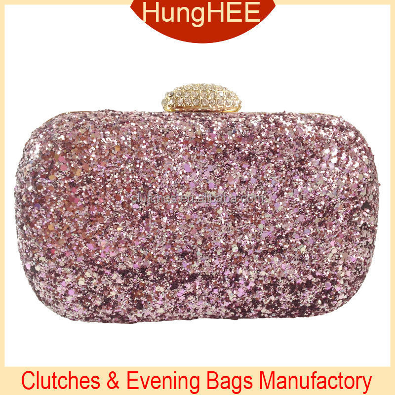 Crystals Rhinestones Clasp Hard Case Fully Sequins Clutch Evening Bags