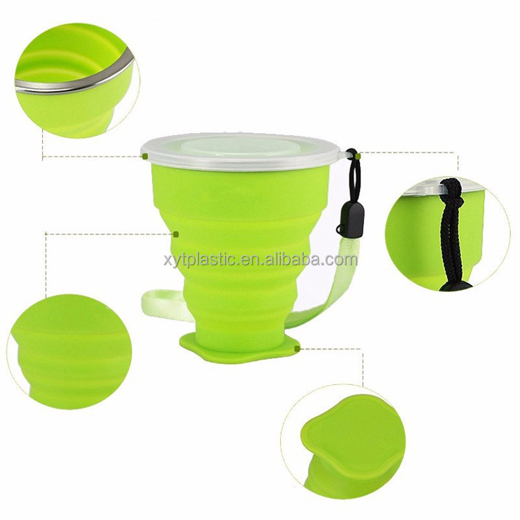 red/yellow/blue silicone fold cup travelling outside cup easy talking