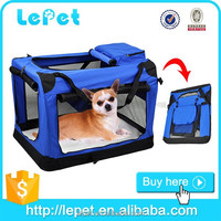 Wholesale custom logo comfort travel folding pet carrier soft dog travel crate
