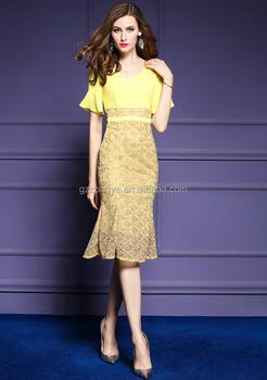European style slim v-neck flare sleeve and package hip women dress with fishtail evening dress