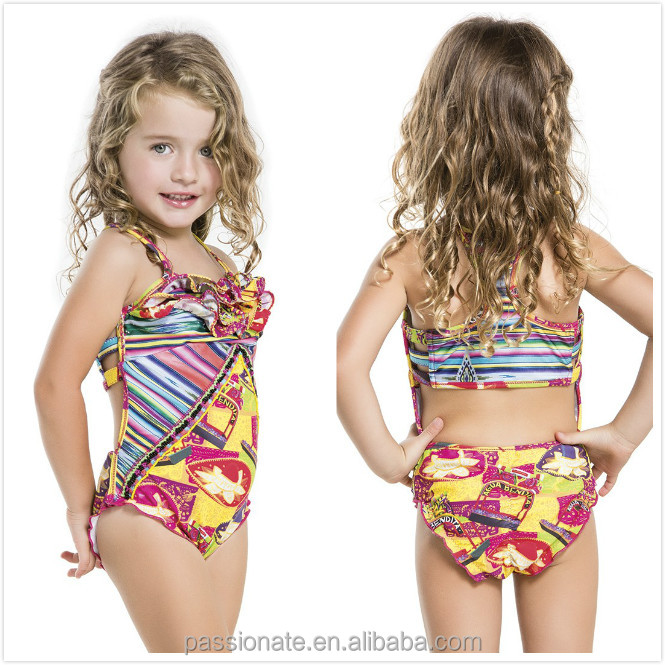 2015 new design sweet kids swimsuit, young girls muslim swimwear
