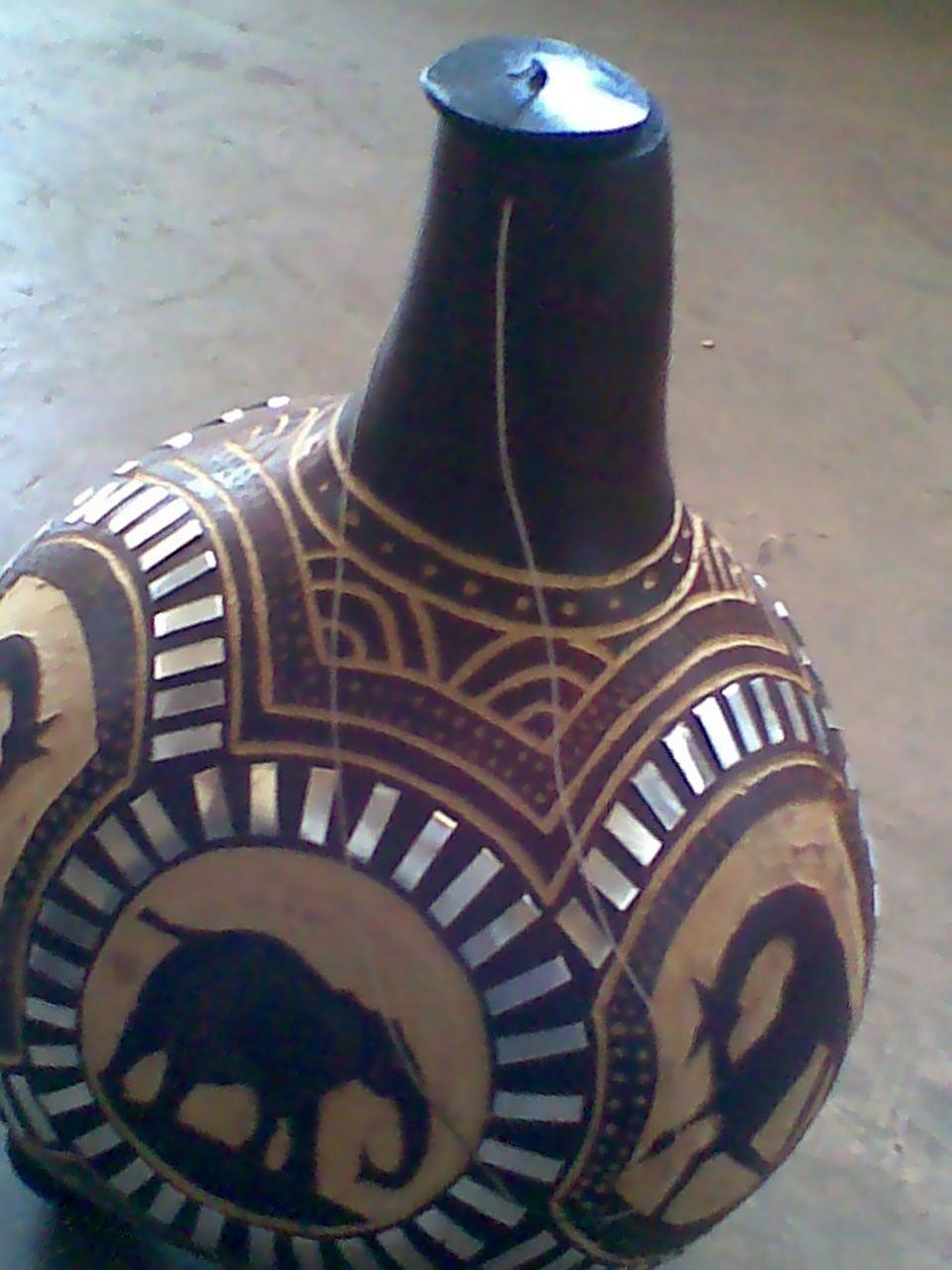Decorated Gourd Lamp Shade