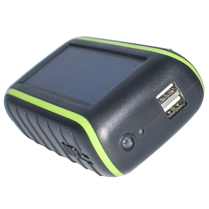 New outdoor Solar charger Power Bank with Hand Cranking Battery Dual-USB Charger LED light