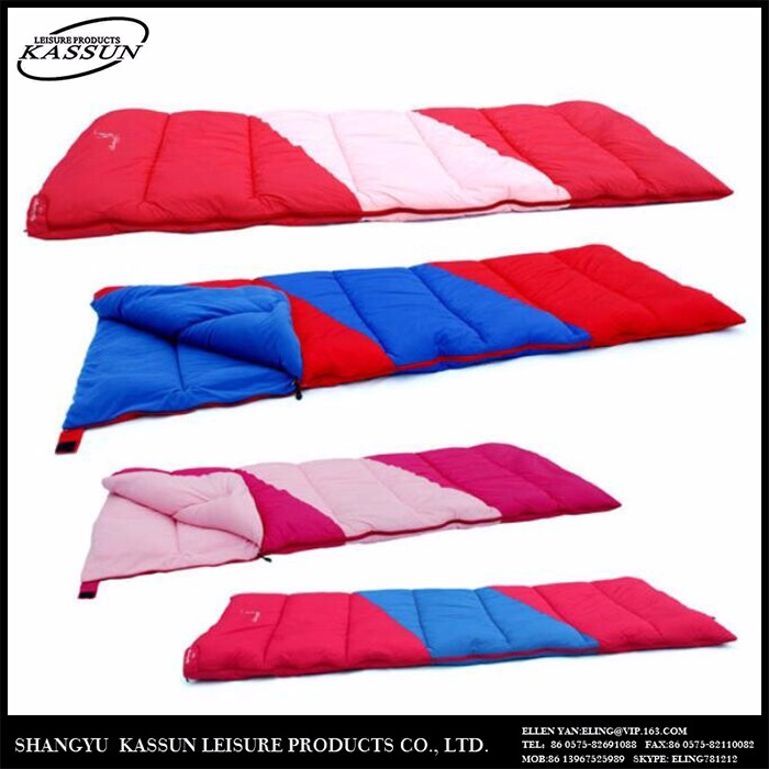Promotoional quality-assured customized colors traveling warmly envelope sleeping bag