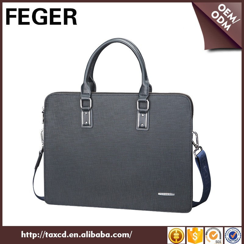 Durable and Waterproof PU Men Handbag Thin Laptop Bag portable briefcase