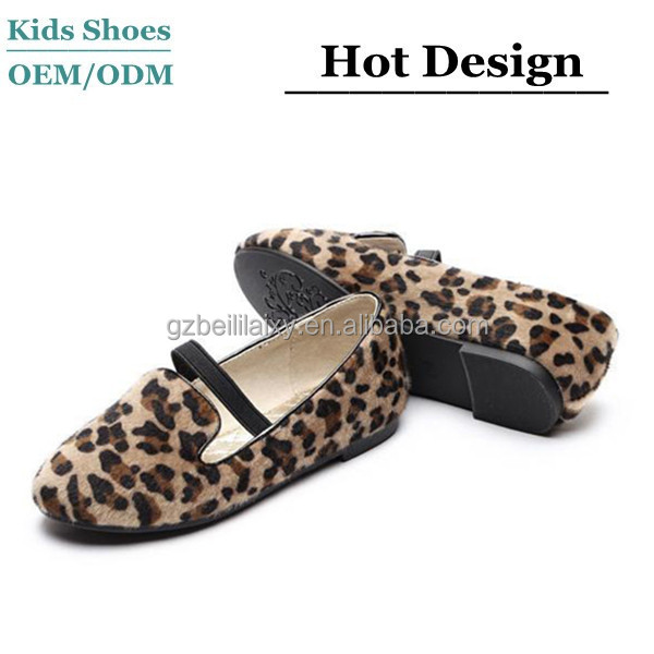 2015 spring mom and me flat casual shoes girls leopard hair leather shoes