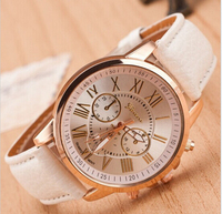 New Luxury Fashion Geneva Brand Women Candy Color Roman Scale Casual Watches Ladies Girl Thin Leather Strap Dress Watches