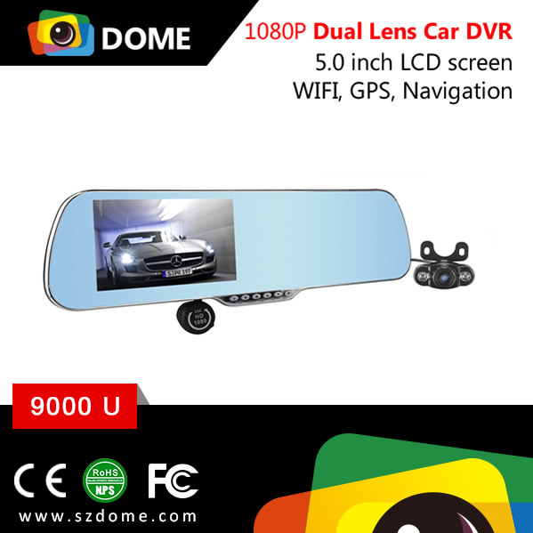 Multifunction Android system google map gps navigation 1080p dual lens car rearview dvr