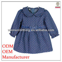 Cute blue polka dot printed kids fashion dresses pictures