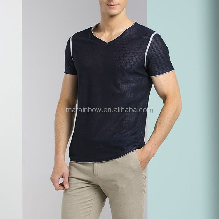 High quality polyester Elastane Sports fitness Dry Fit Breathable Tight Fit Men's muscle training GYM t shirts OEM