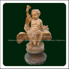 Pink Carving Marble Boy Riding Eagle Sculpture