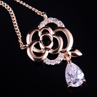 Fashion Flower Rhinestone Zircon Fine Necklace Jewelry N00366