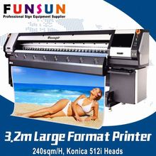240sqm/H ! Funsunjet FS-3208K Konica 512i heads 10ft 3.2 m digital fabric printing machine large format outdoor solvent printer