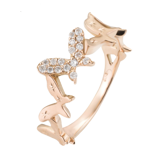 Fine jewelry butterfly ring with little diamonds