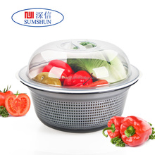 Double plastic cleaning basket of fruits and vegetables pot drain basket with cover and dripping sieve sieve