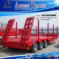 60tons machinery /20ft/40ft container, timber transportation flatbed low bed semi trailer/lowbed semi trailer for sale/
