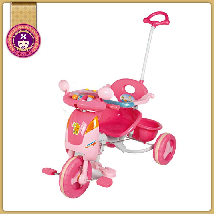 Three Wheeler Non Powered Red Stroller Pink Trike Bike With Canopy