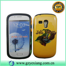 High quality pc silicone case for samsung galaxy s3 mini i8190 hybrid cell phone case