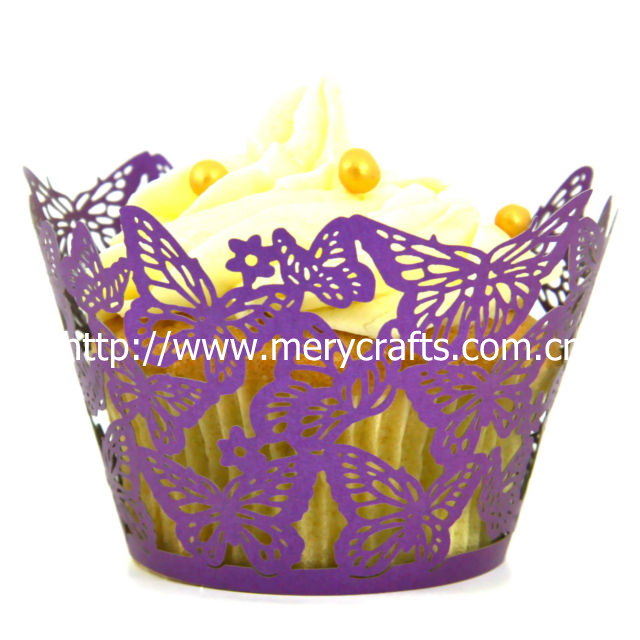 2013 new products made in China! wedding decoration laser cut purple cupcake wrappers dancing butterfly made in China