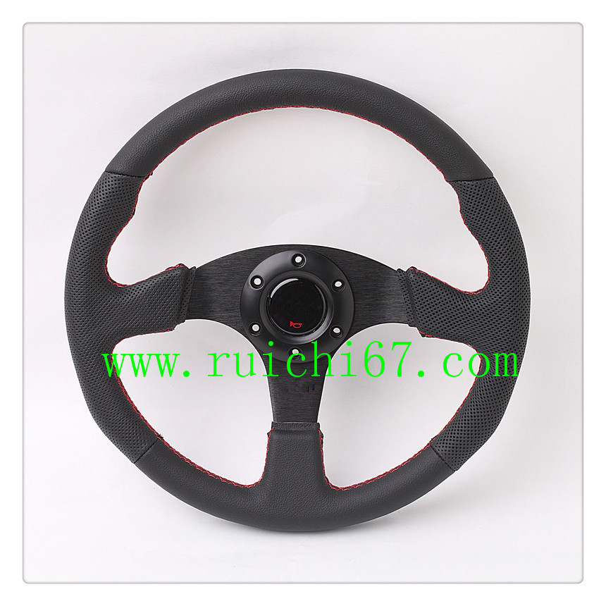 STOCK China Alibaba Black Genuine Leather Steering Wheel/ Competitive Price Universal Steering Wheels (RC-5128)