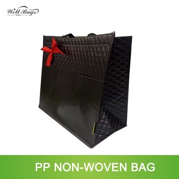 embossing balck with bowknot promational gift non woven shopping bag