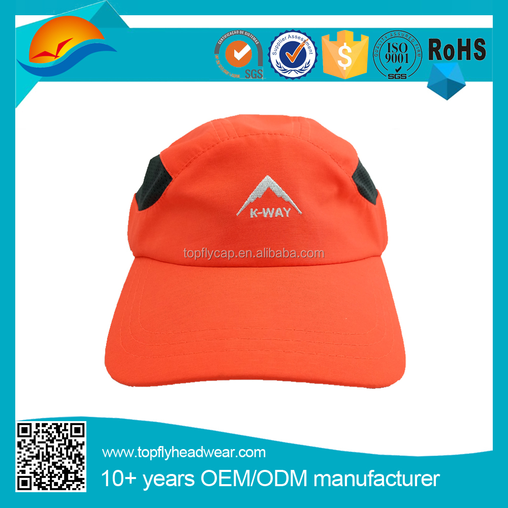 Orange colour micro fleece 5 panel sports caps with embroidery logo