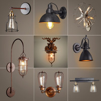 latest loft vintage industrial water pipe wall light,wrought iron gun shape wall lamp for indoor wall sconce decoration design