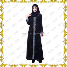 MF21340 2015 Muslim long dress & black abaya with lace and stone