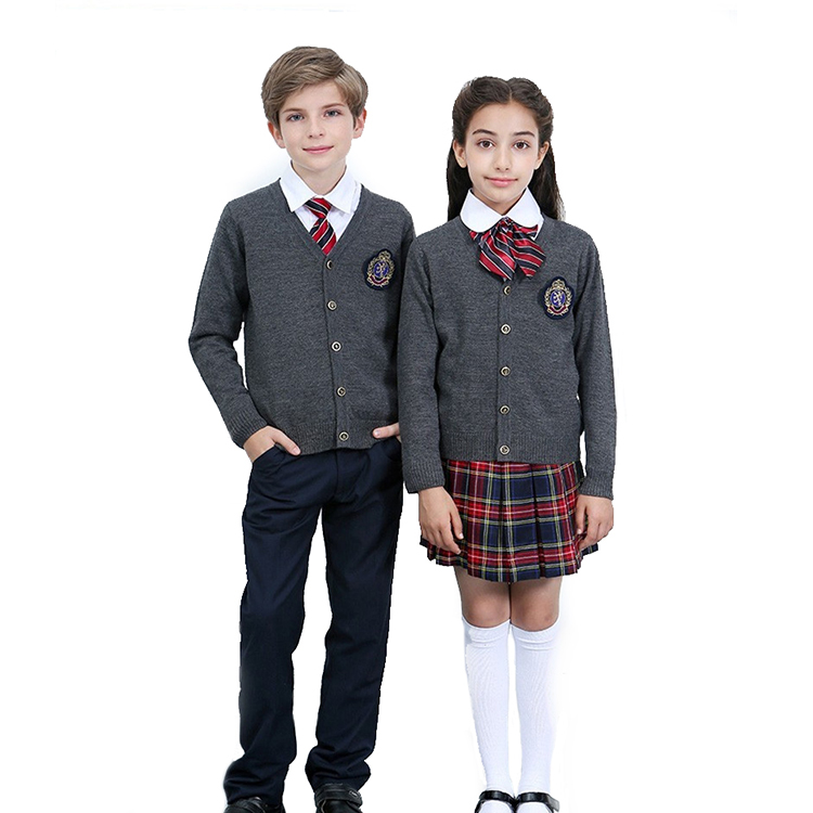 Custom make school sweater unisex British style knitting cardigan kids sweater 100% cotton primary school uniform <strong>designs</strong>