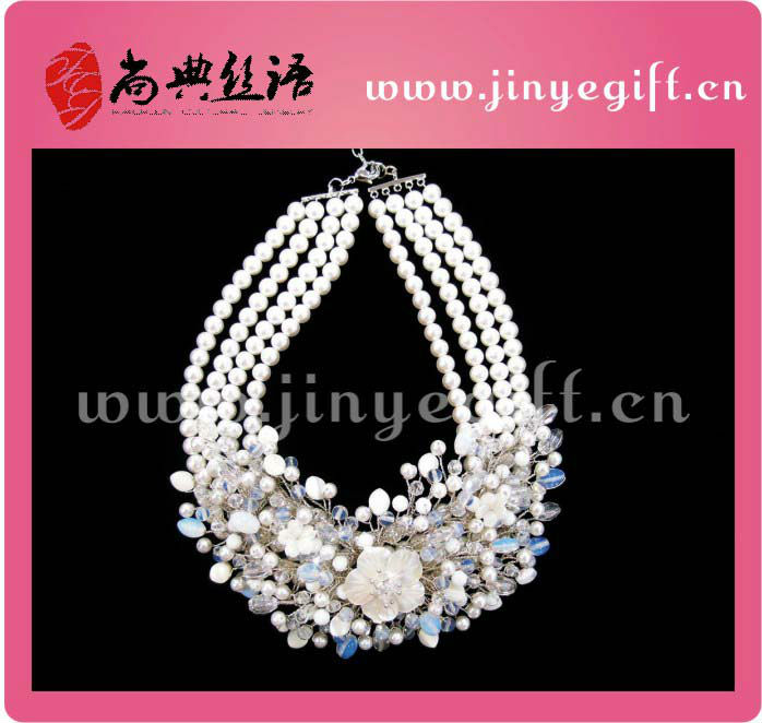 Fashion Bridal Flower White Faux Pearl Crystal Necklace Set