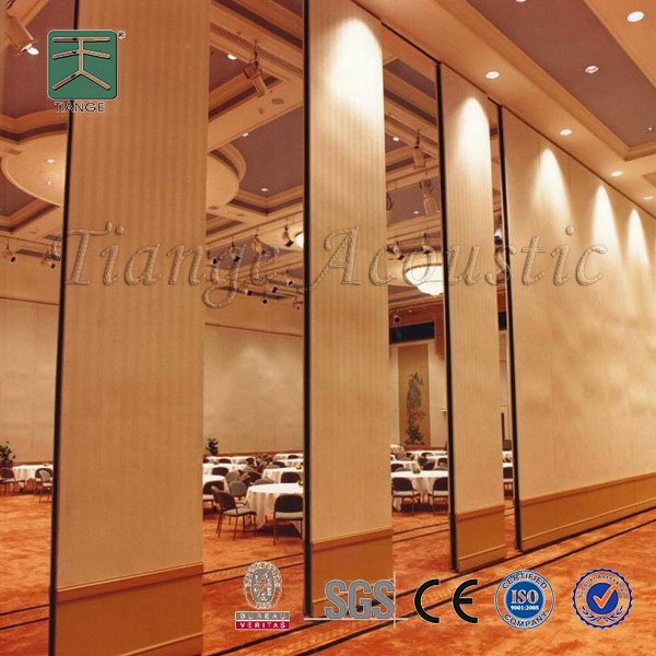 Sliding folding and stacking door banquet hall divider