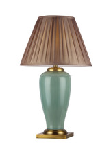 square base polished vivid green desk lamp with barrel pleated lamp shade E27 socket popular in England