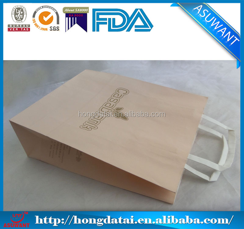 eco kraft paper shopping bag with ribbon handle