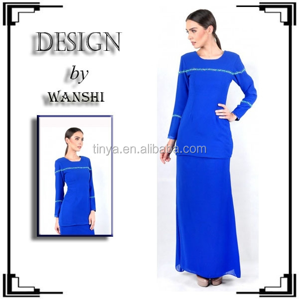 2016 Hot sales modern chiffion beads baju kebaya dress
