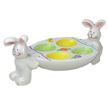 hot sell funny bunny stand ceramic easter egg holder